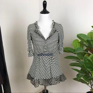 Anthropologie one September striped peplum blouse